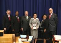 Los Angeles Board Of Supervisors presents plaque to Congen De La Vega